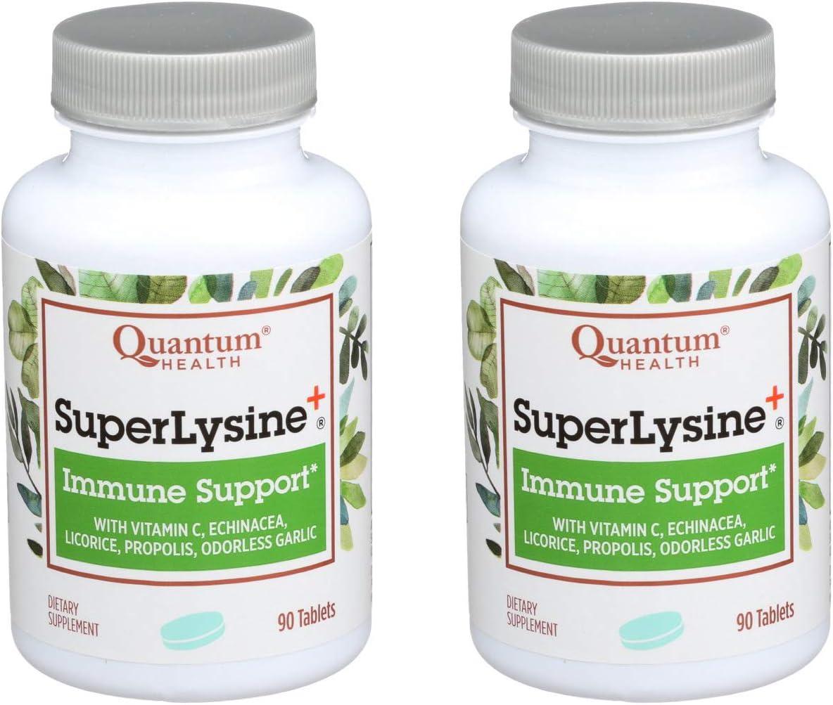 Quantum Health Super Lysine+ / Advanced Formula Lysine+ Immune Support with Vitamin C, Echinacea, Licorice, Propolis, Odorless Garlic (90 Tablets) - 2 Pack