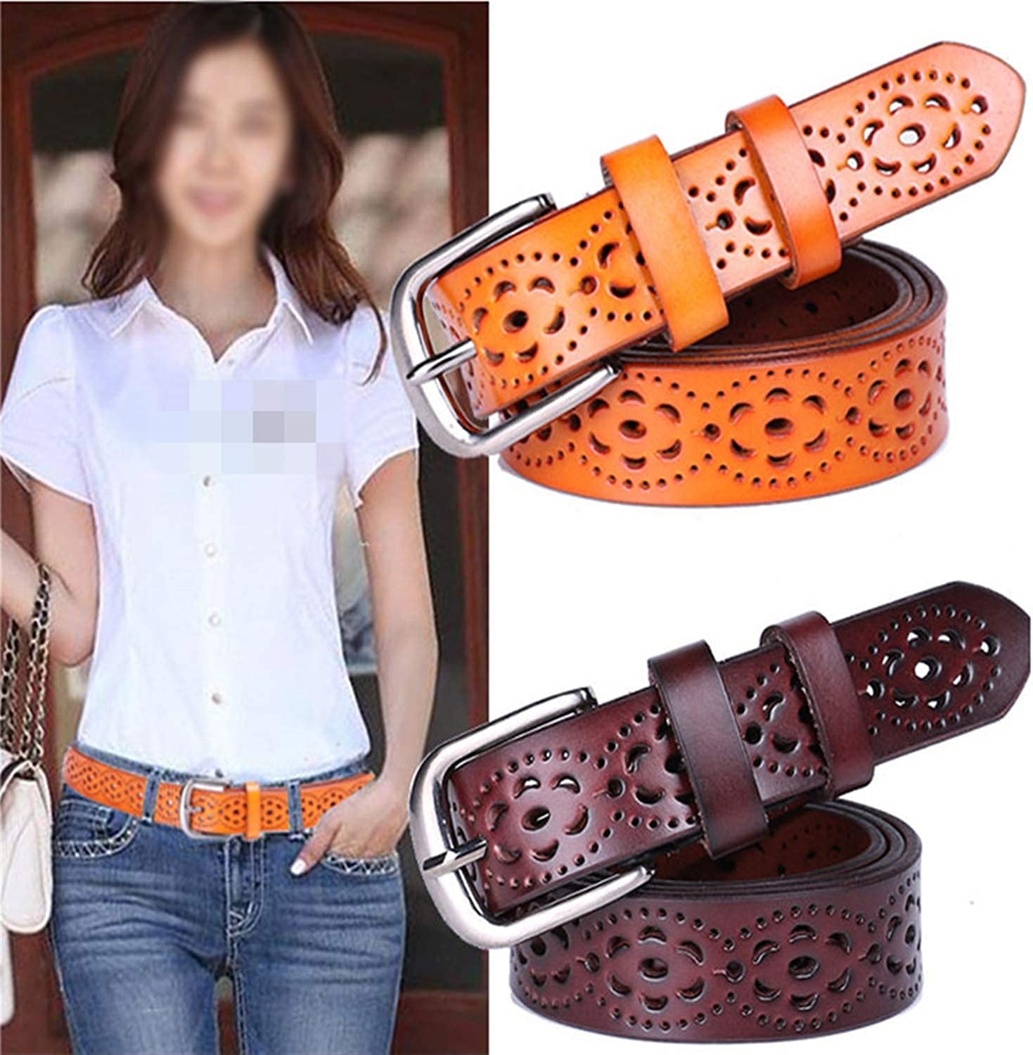 Pajamasea Women Wide Genuine Leather Belt Woman Without Drilling Jeans Belts Female Straps Ceinture Femme Red 105Cm