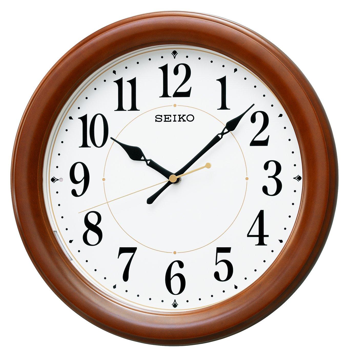 セイコー クロック 掛け時計 自動点灯 電波 アナログ 夜でも見える 木枠 茶 木地 KX204B SEIKO B015CELJOE
