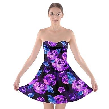 c3d5001143 PattyCandy Women s Purple and Black Berries Tube Top Bra Strapless ...