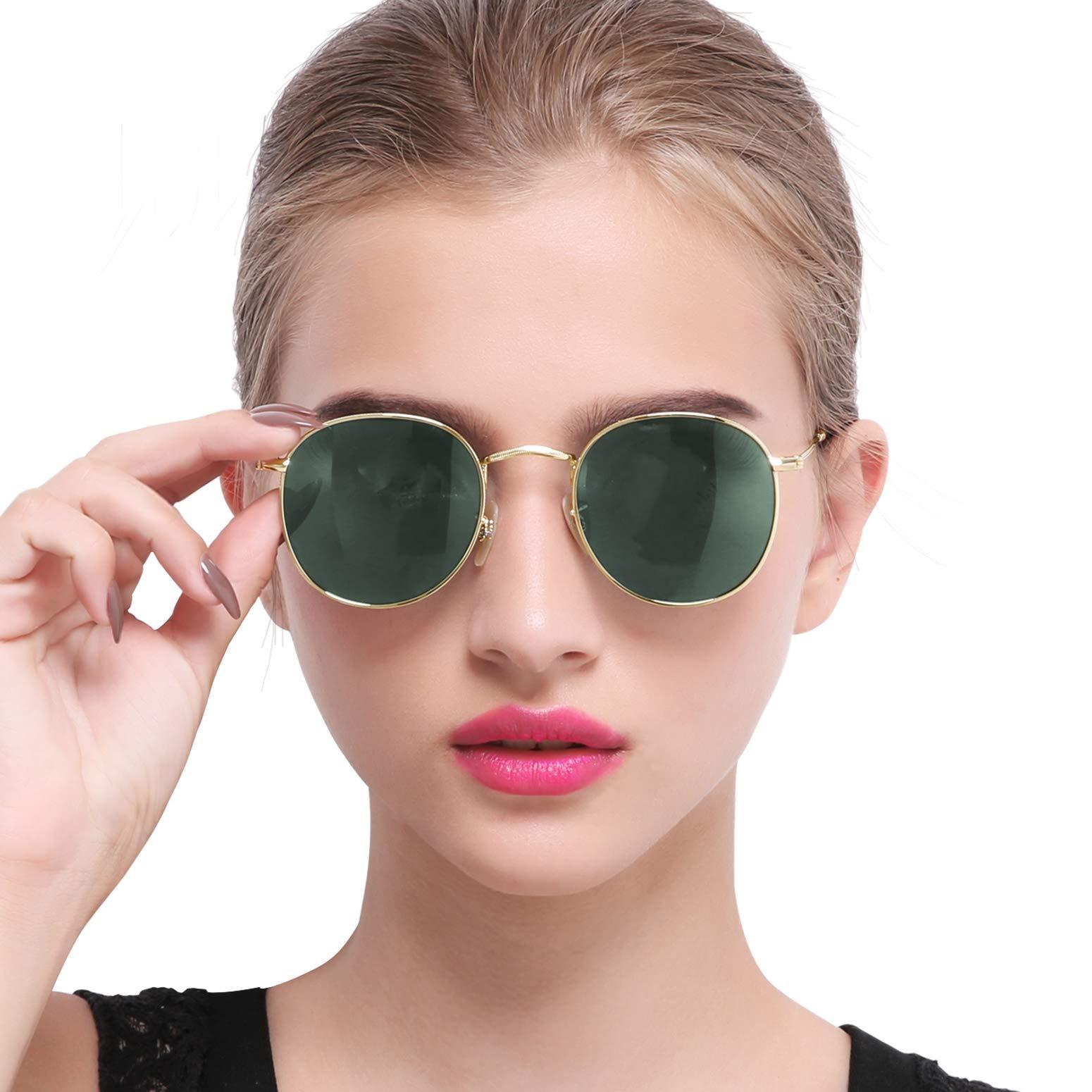 Joopin Vintage Round Sunglasses for Women Retro Brand Polarized Sun Glasses E3447 (Dark Green) by Joopin