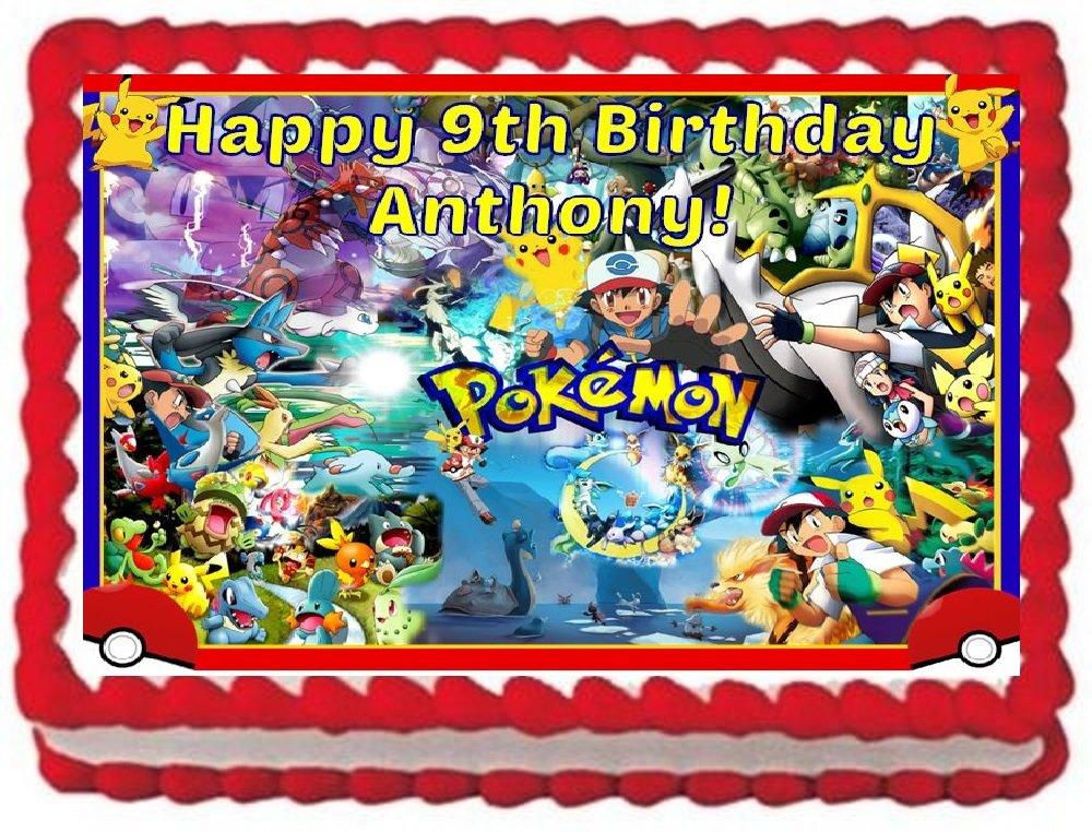 Pokemon Personalized Edible Cake Topper Image -- 1/4 Sheet by  (Image #1)