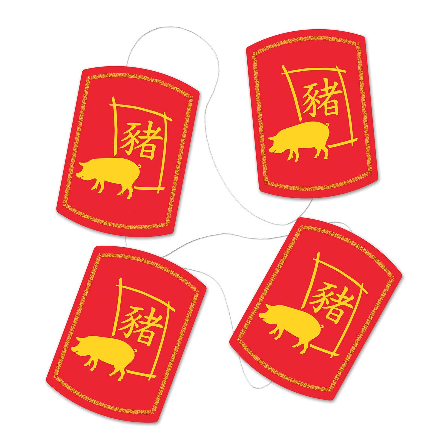 Beistle Asian Party Decoration Year of The Pig, 2019 Year of The Pig Stringer 78 Inch, Pack of 12
