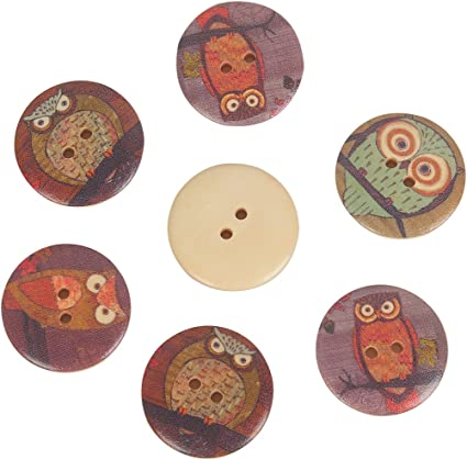 50pcs Owl Pattern Wood Buttons for Sewing Scrapbooking Home Cloth Handmade Decor