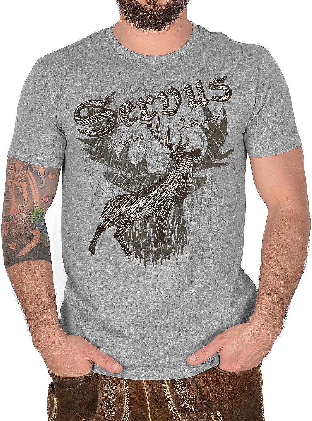 Trachten-Shirt Herren Hirsch Motiv T-Shirt Servus sch/önes /Österreich Tracht Trachtenshirt Trachtenmotiv zur Lederhose Heimat Landliebe
