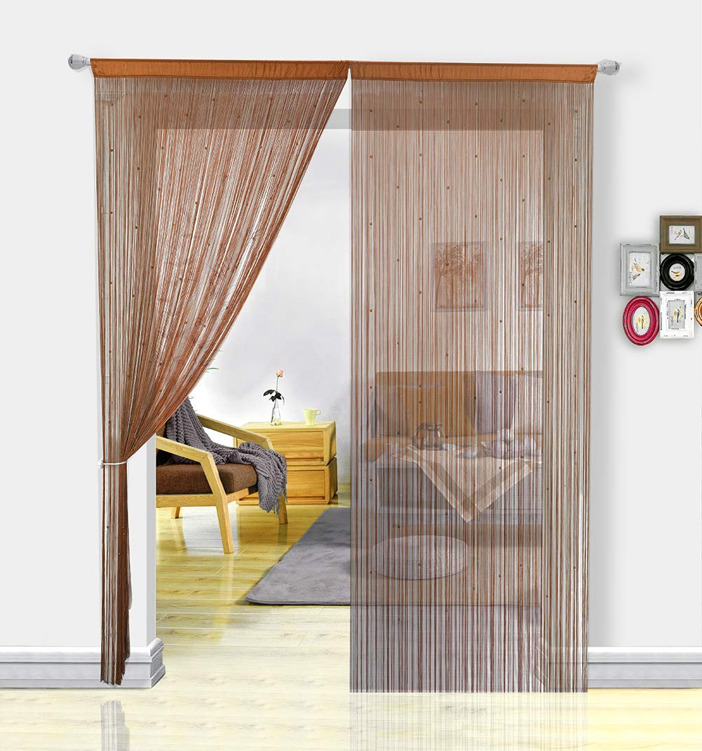 HSYLYM Spaghetti Beaded String Door Curtains with Pearl Beads, Dense Beaded Door Fly Screens for Doors, Doorways and Windows (90 * 200, Beige) Hansheng
