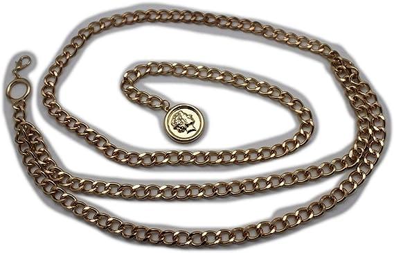 Women Belt Hip Waist Silver Metal Chain Ethnic Style Coins Circle Charms M L XL