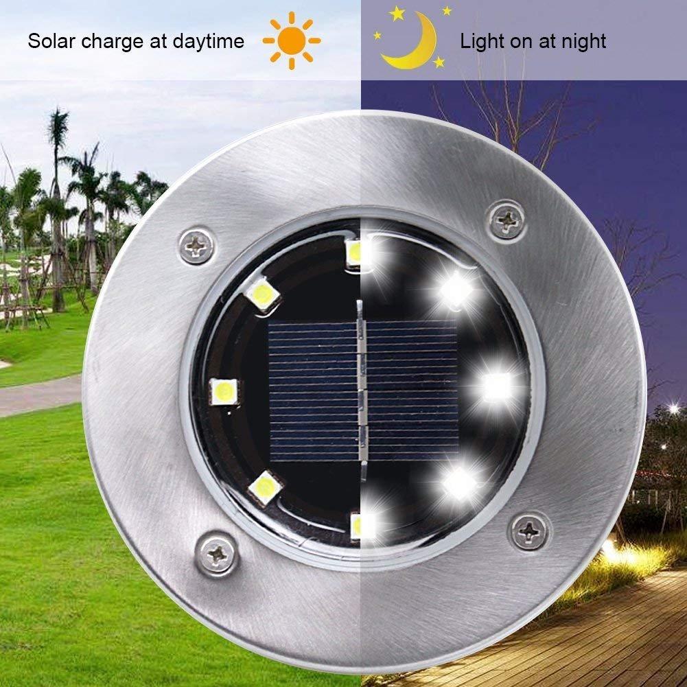 8/12 LEDs Solar Power Underground Lights, Outdoor Waterproof for Garde Landscape Spike Lighting Yard Walkway Path (8-Led)