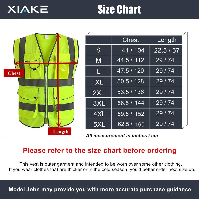 Chaleco de seguridad de alta visibilidad clase 2 con bolsillos y cierre ANSI//ISEA normas amarillas XIAKE SAFETY