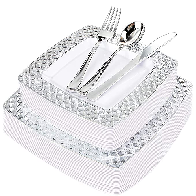 WDF 125PCS Silver Plastic Plates with Disposable Plastic Silverware,Diamond Square Plastic Tableware include 25 Dinner Plates,25 Salad Plates,25 Forks, 25 Knives, 25 Spoons