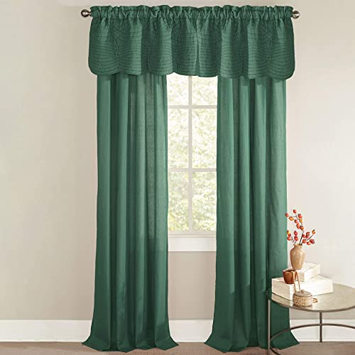 BrylaneHome Florence Valance Curtain, Evergreen