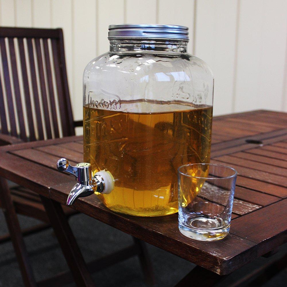 COM-FOUR® Dispensador de agua y jugo con tapón de rosca, dispensador de bebidas hecho de vidrio en diseño de tarro de albañil con pico, hasta 3.5 L (01 ...