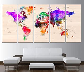 Amazon world map push pin world map with countries canvas world map push pin world map with countries canvas print push pin travel world gumiabroncs Image collections