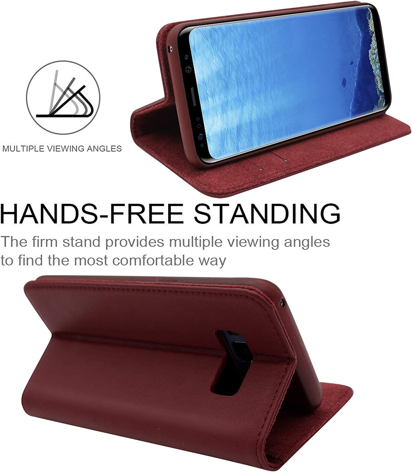 RFID Blocking Flip Cover with Viewing Stand and Card Slots Handmade Flip Cover Li Vinci Genuine Leather Wallet Case for Samsung Galaxy S8 In Wine Red