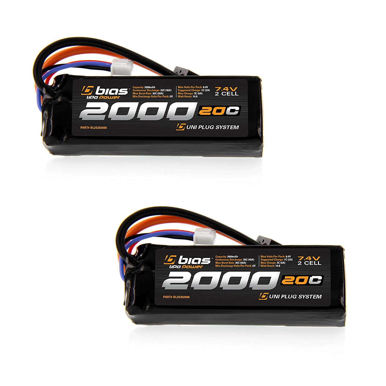 Amazon Bias 20C 2S 2000mAh 7 4V LiPo Battery UNI Plug EC3 Deans Traxxas Tamiya for RC Car Truck Buggy Boat Heli and Drone Toys & Games