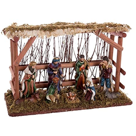 aabb2e73c64 Belén con Portal rústico marrón de Resina Christmas - LOLAhome ...
