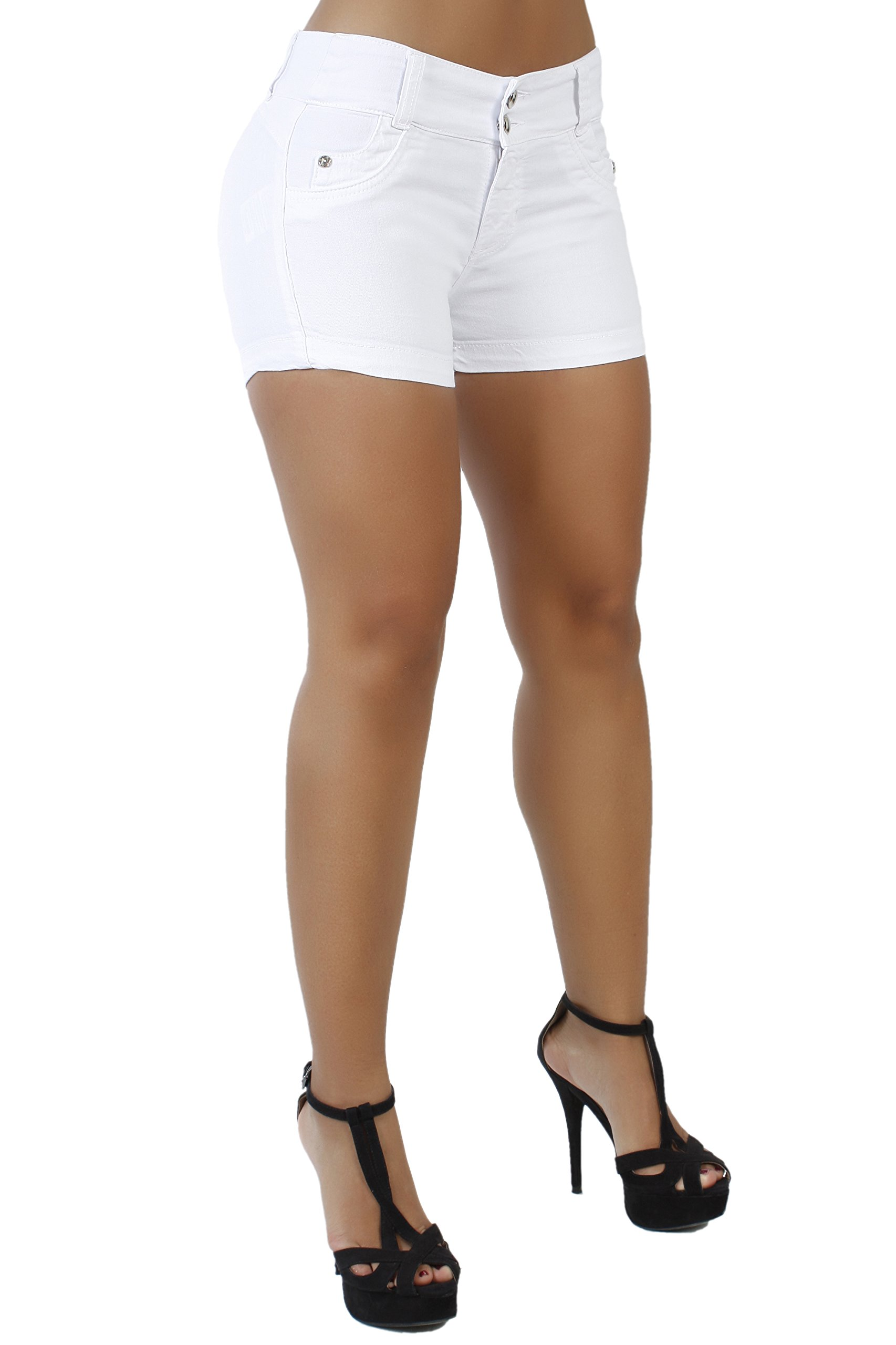 Curvify Butt Lift Stretch Sexy Jean Shorts For Women | Mid Rise Denim Shorts Levantacola 764 (Shorts White 5)