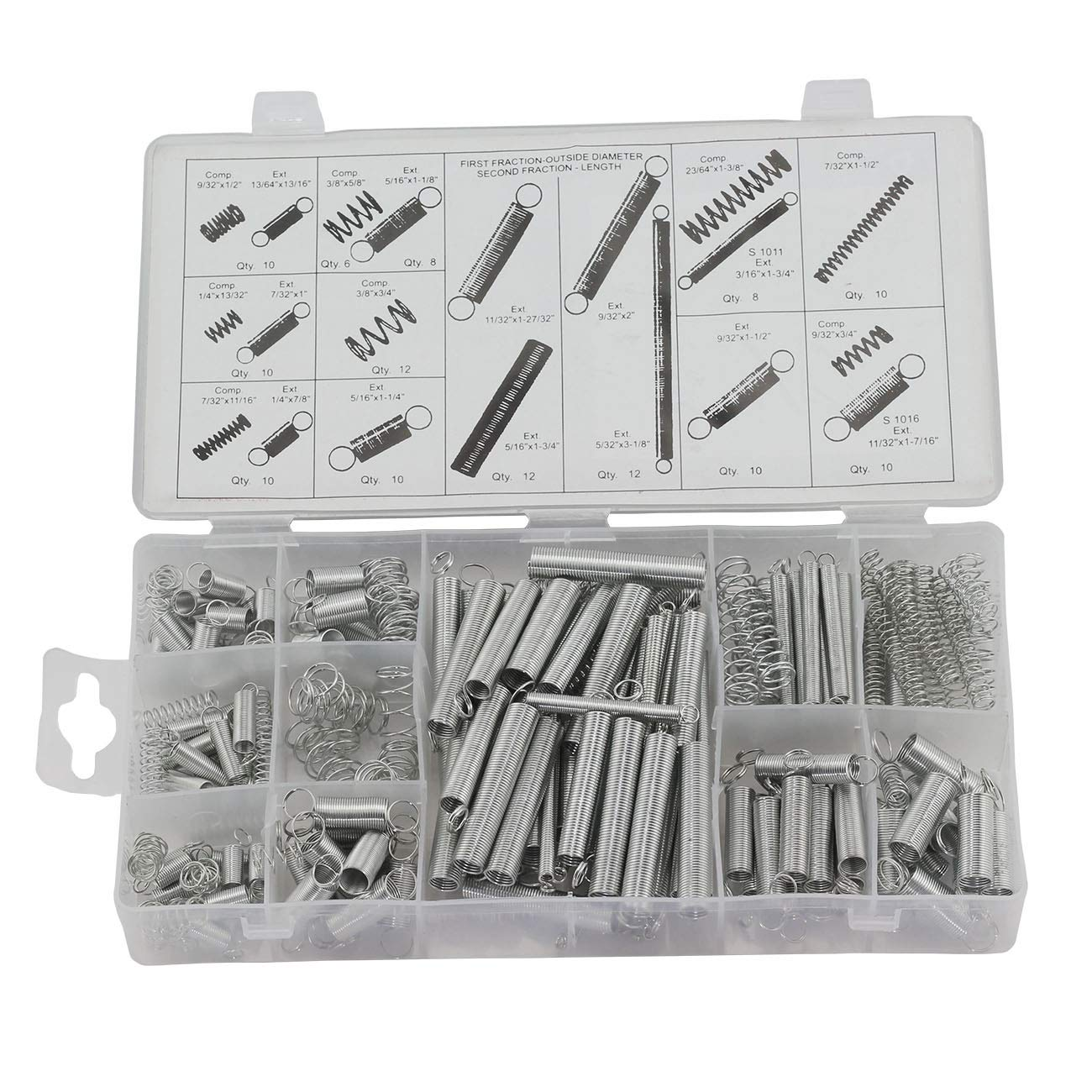 ZYAMY 200pcs 20 Sizes Spring Assorted Kit Metal Electrical Hardware Drum Extension Tension Springs Extended and Compressed Spring Assortment