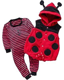 1c4a213ec6522 Kidsform Unisex Baby Halloween Costume Cosplay Animal Ladybug Flannel  Romper Pajamas Outfits Dress Up Hoodie Jumpsuit