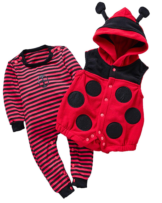 Kidsform Unisex Baby Halloween Costume Cosplay Animal Ladybug Flannel Romper Pajamas Outfits Dress Up Hoodie Jumpsuit Red 3-6M