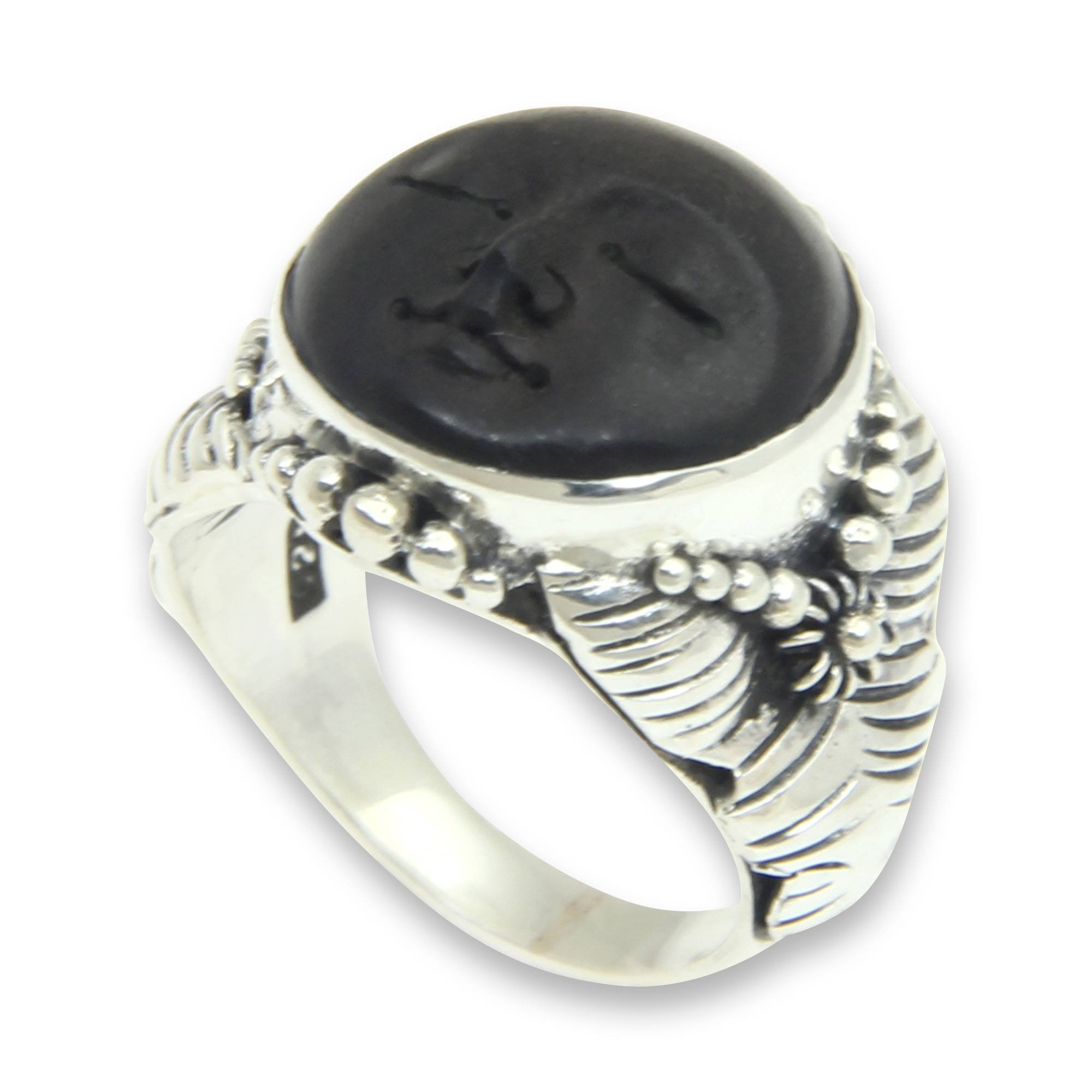 NOVICA .925 Sterling Silver Carved Ebony Wood Ring 'Amun Ra'