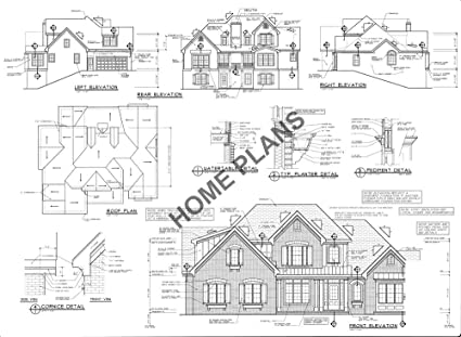 Amazon.com: SQ FT HTD 2598 UNHT 278 Plan # K-1335 Home/House ... on working drawing floor plans, architectural house floor plans, cad window drawings, cad building house plans,