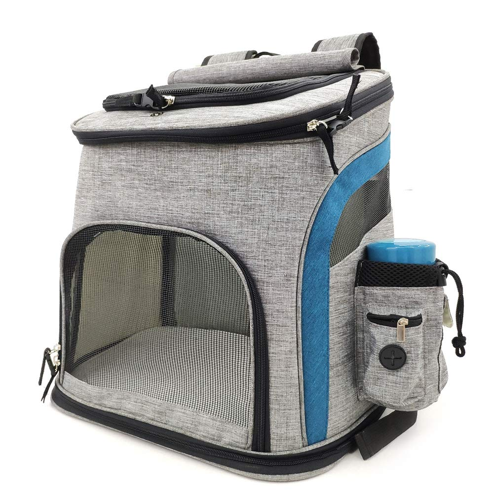 bluee Pet Carrier Backpack for Small Medium Dogs Cats, Pet Travel Carrier, with Mesh Windows, Water Cup Bag for Travel, Hiking, Outdoor