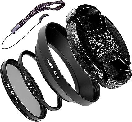 per Nikon Coolpix P900 o Nikkor 18-105 e 18-140 mm VR filtro polarizzatore UV Lumos  Set di accessori 67 mm paraluce in metallo CPL