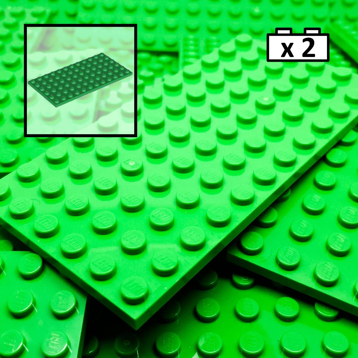 2 6x6 Green Base Plate Bricks ~ Lego  ~ NEW ~