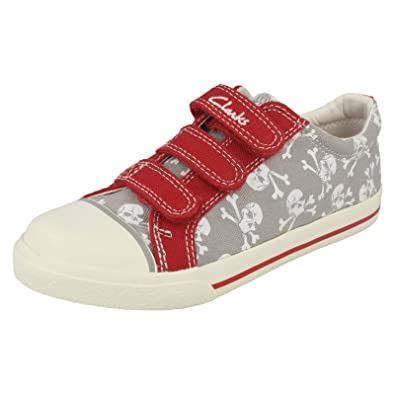 334a0729b69 Clarks Boys Seasonal Halcy Sky Inf Textile Summer Shoe In Wide Fit Size 8