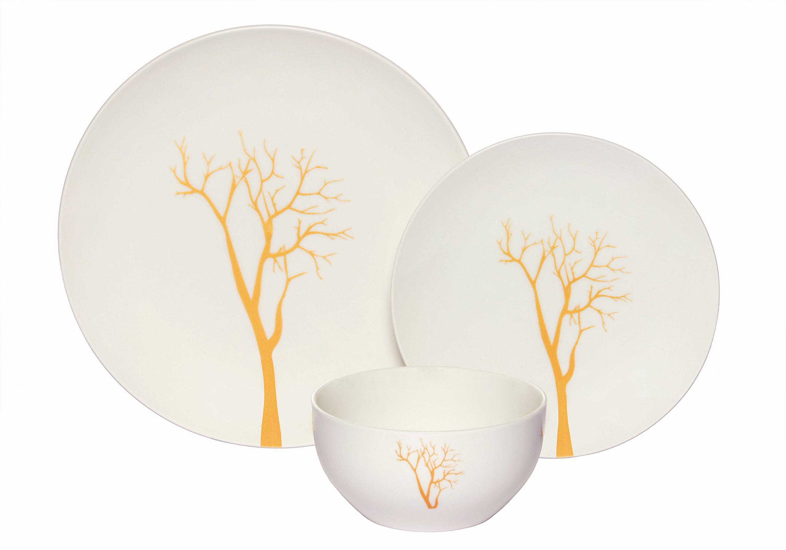 Melange Coupe 36-Piece Porcelain Dinnerware Set (Gold Tree) | Service for 12 | Microwave, Dishwasher & Oven Safe | Dinner Plate, Salad Plate & Soup Bowl (12 Each)