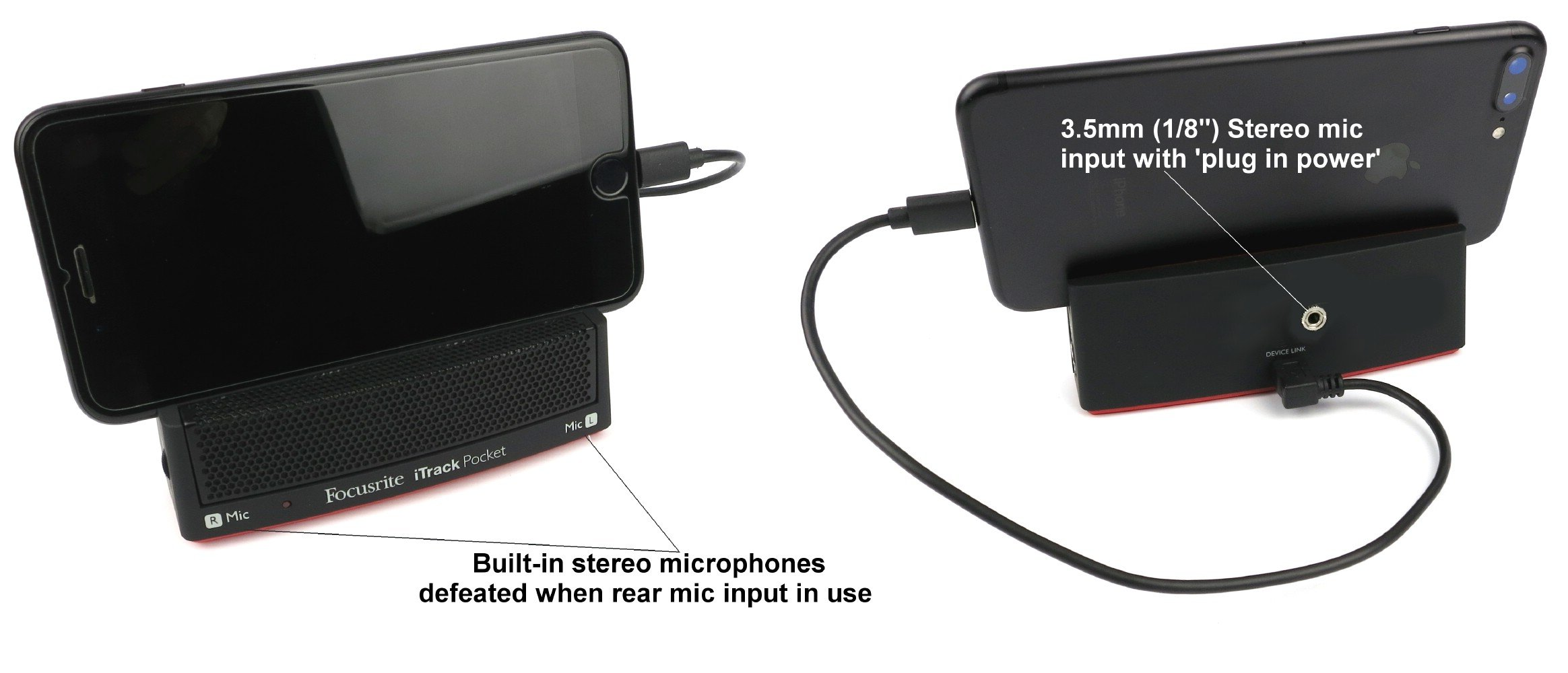 FR-ITRACK-POCKET-MOD - Stereo Microphone/Interface modified to include external mic jack - connects Stereo microphones to an iOS devices with Lightning connector by Sound Professionals