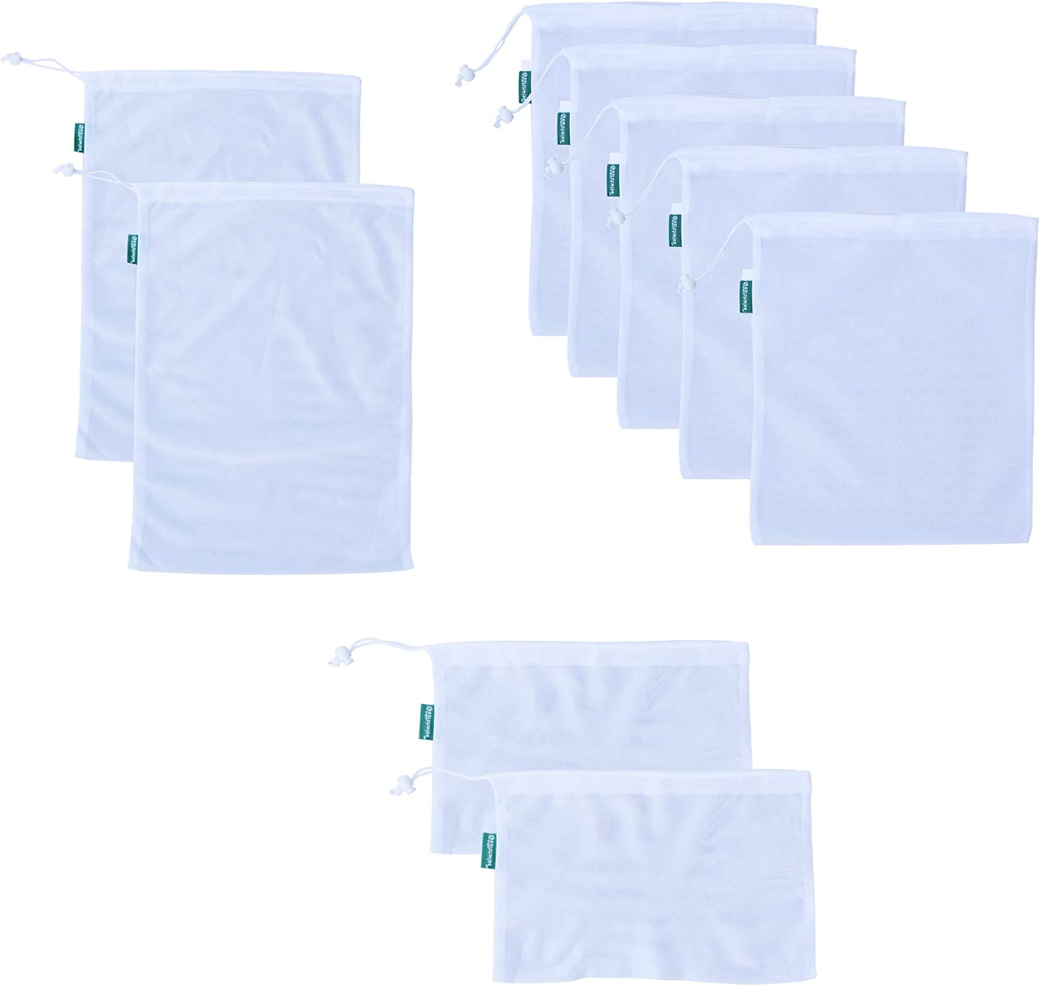 Earthwise Reusable Mesh Produce Bags - TARE WEIGHT TAGS on every bag Premium MACHINE WASHABLE Grocery Set of 9-3 Different Sizes 12x17in, 12x14in, 12x8in