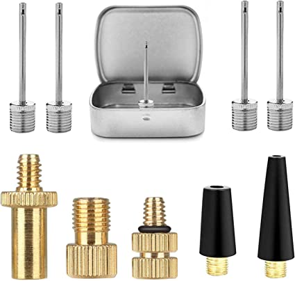 Air Pump Adapter Valve 6 Pcs Set Nozzle Tyre Tube Replacement Head Inflatable
