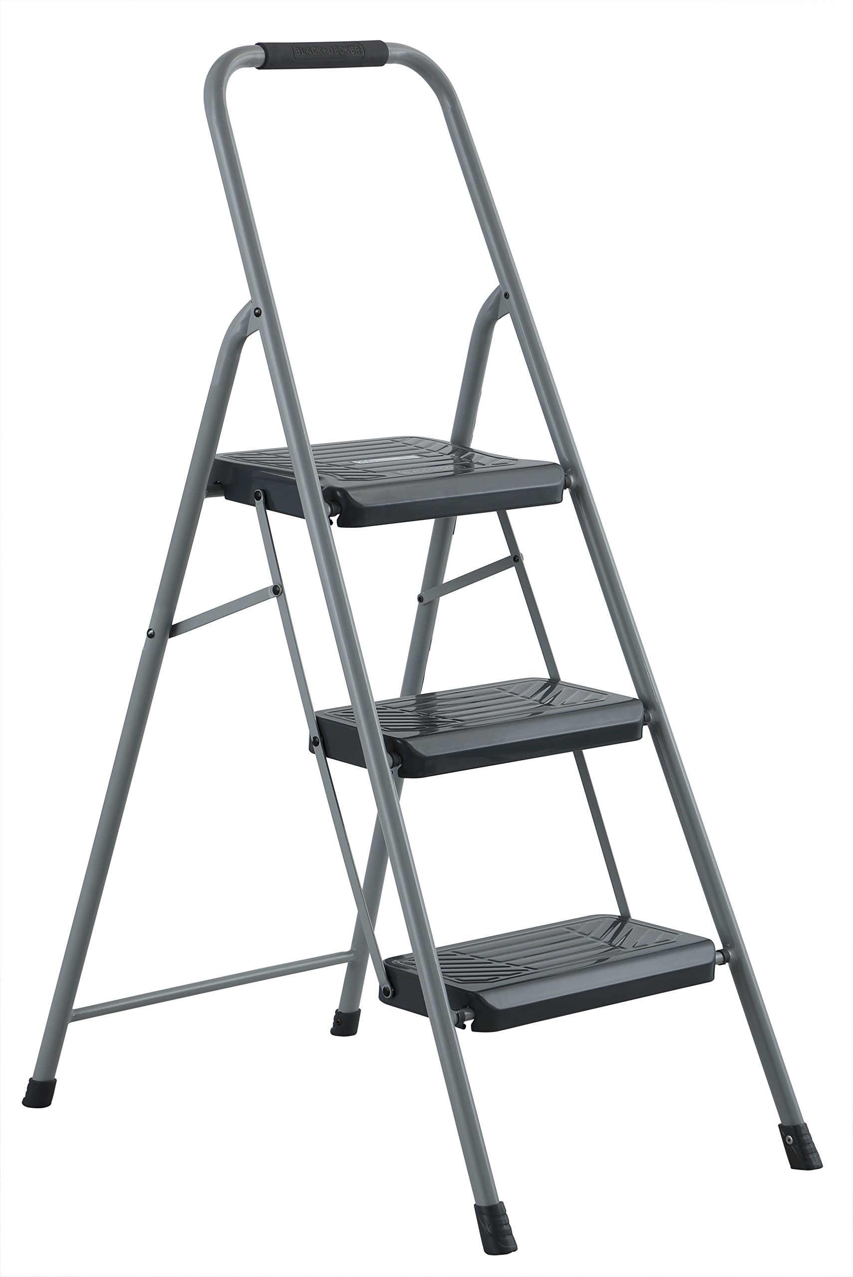 Black & Decker BXL4360-03 Two Step 200 lb Capacity Steel Stool, Gray