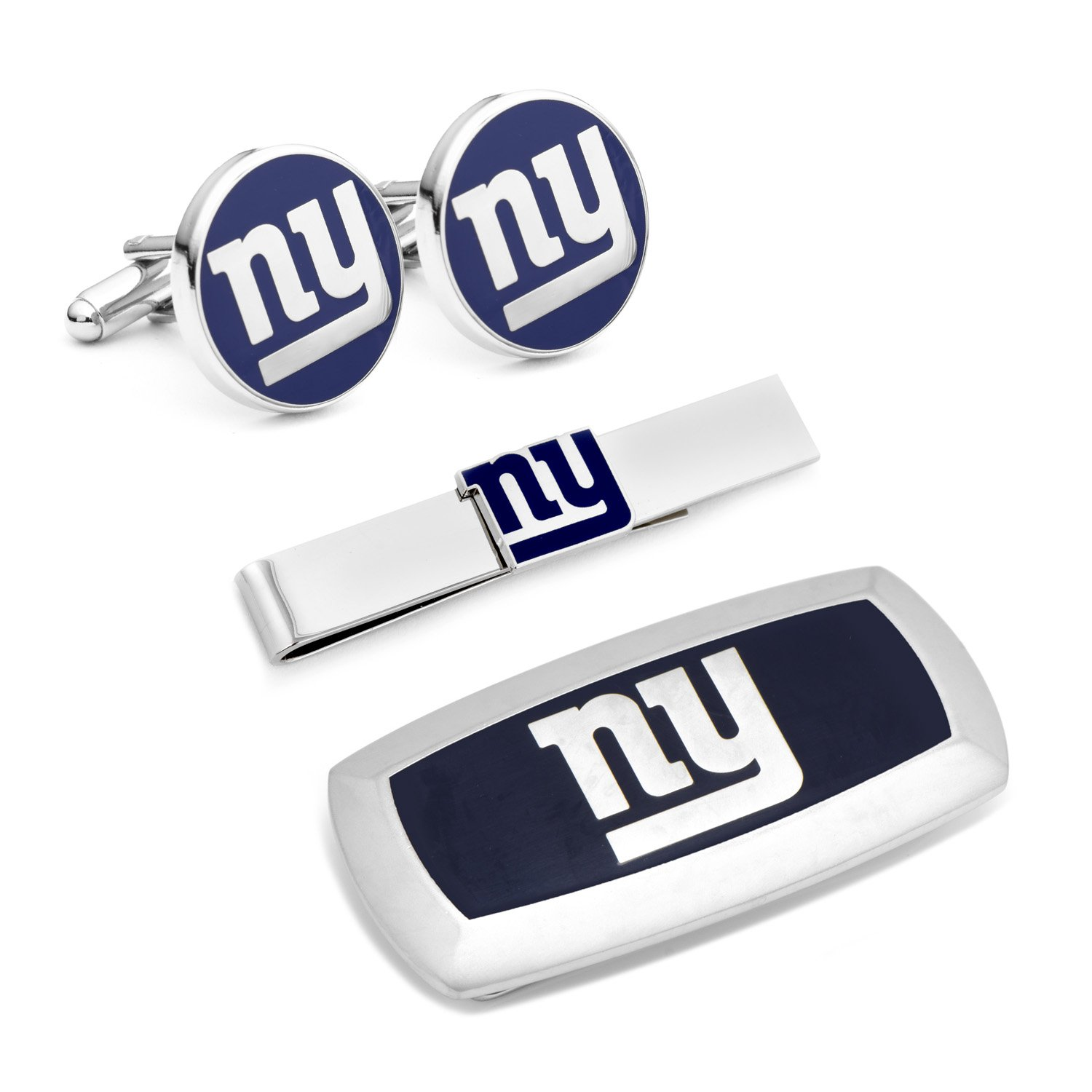 Cufflinks Inc Metal Mens Jewelry Sets New York Giants 3-Piece Cushion Gift Set Silver Model # PD-NYG-3P2