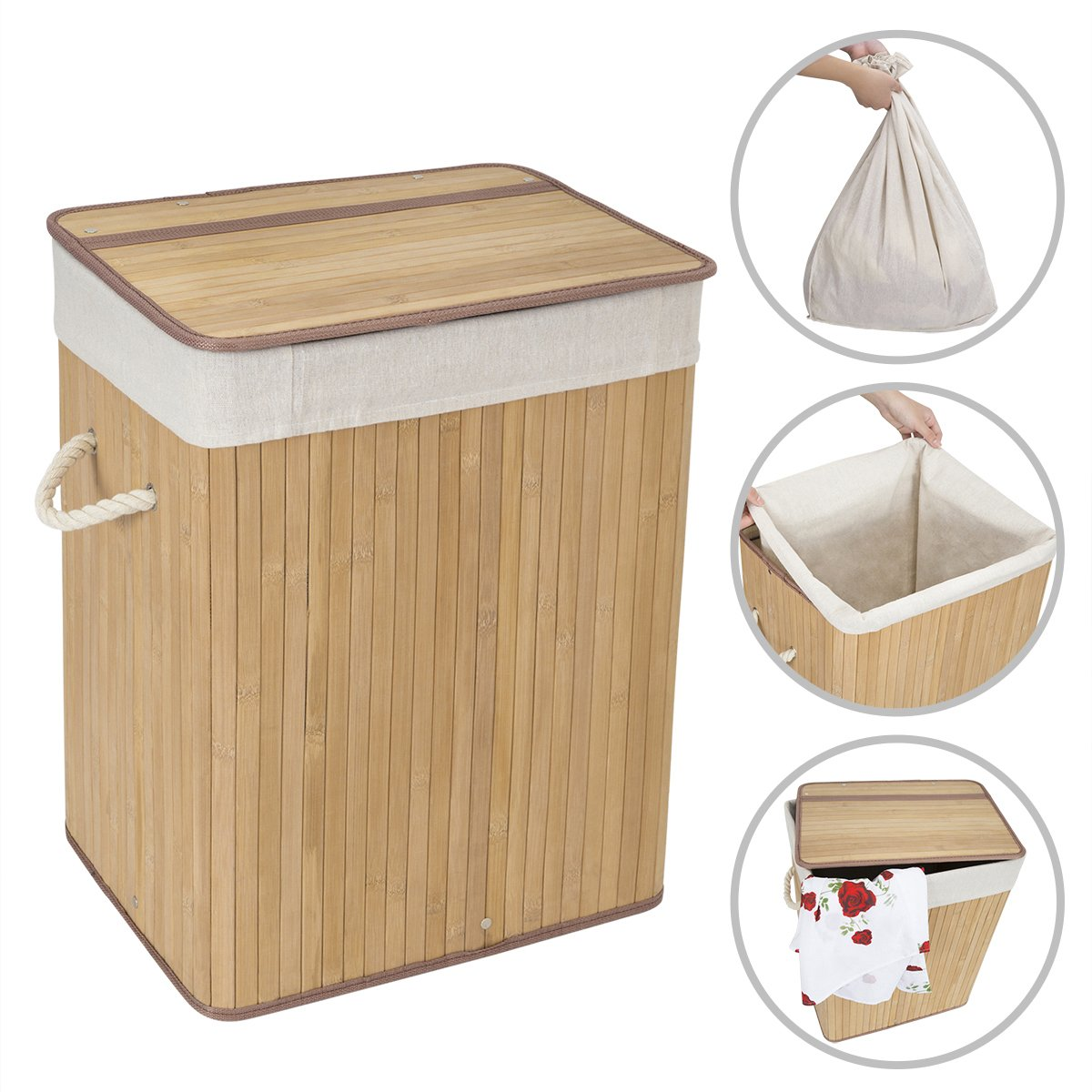 WOWLIVE Bamboo Laundry Hamper Basket with Lid Handles Removable LinerDirty Clothes Organizer Foldable Easily Transport Rectangular Washing Bin (61L,Natural)