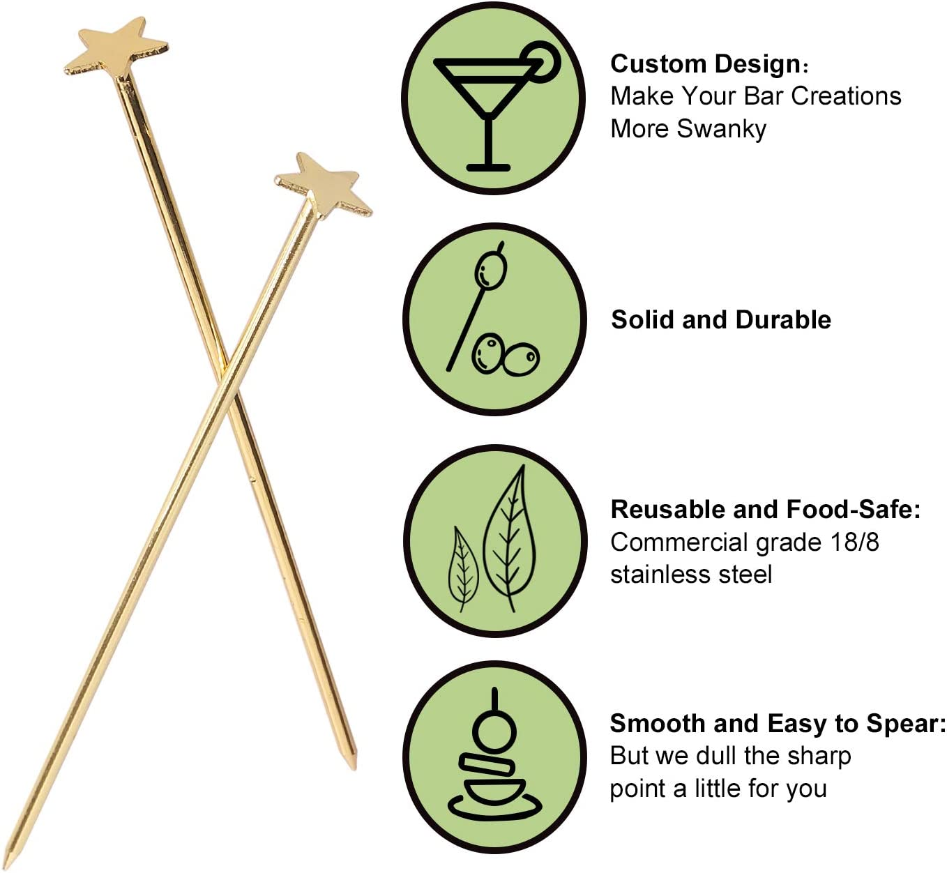 Gold Reusable Cocktail Skewers Pack of 20 Stainless Steel Star Cocktail Picks Martini Picks