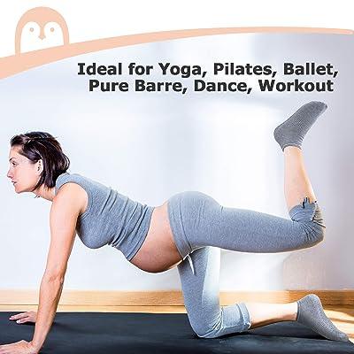 BIOAUM Yoga Socks for Women 6 Pairs Cotton Cushion Non Slip Grip Slipper Pilates Hospital Socks