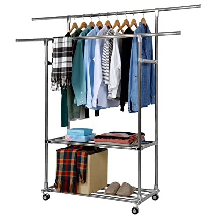 Lifewit Adjustable Double Rods Garment Rack With 2 Storage Shelves Rolling  Hanging Rail For Clothes,