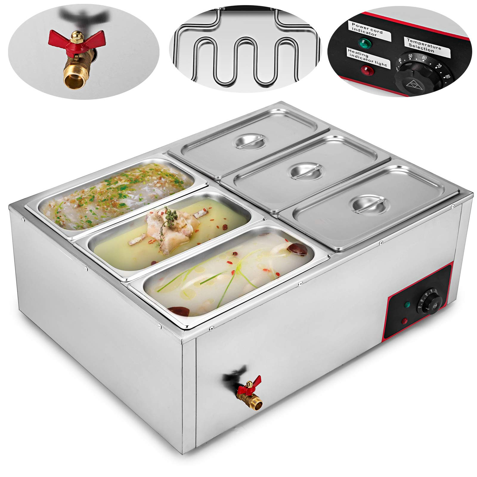 VEVOR Commercial Food Warmer 110V 6-Pan Electric Food Warmer 850W Stainless Steel Bain Marie Buffet Food Warmer Steam Table for Catering and Restaurants by VEVOR