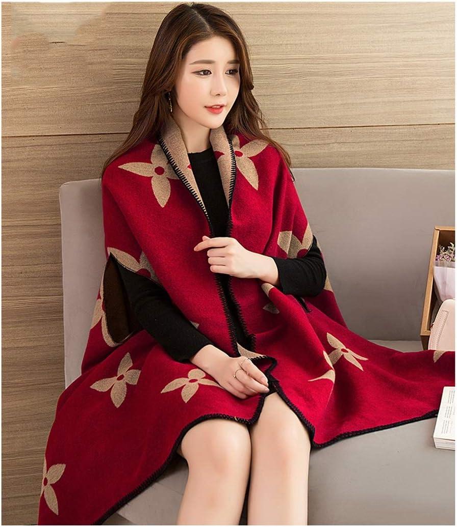 HENGTONGWANDA ショールスカーフデュアルユース女性野生のマントスタイルマントジャケット厚く暖かい秋の外を取る A
