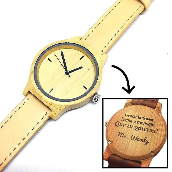 Reloj de Madera Personalizado para Mujer con Grabado Láser de Texto, Mensaje o Dedicatoria Atrás
