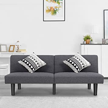 LANGRIA Modern Sofa Bed Upholstered With Soft Breathable Linen 6 Reclining  Positions Quick And Easy Click