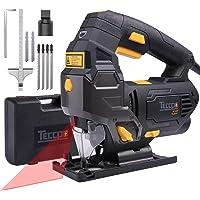 Stichsäge, TECCPO 800W elektrische Stichsäge mit Laser, 6 variable Geschwindigkeiten und Blasfunktion, 45° Doppelseitenschnitt, 6 Sägeblätter für Holz, Metall, Kunststoff, Gipskartonplatten
