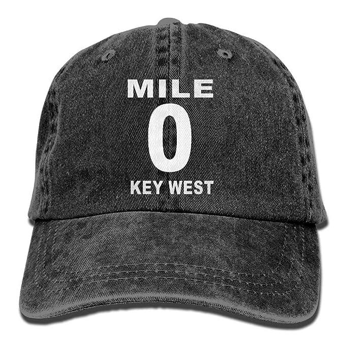 Mile 0 Key West, Gorra Vaquera Ajustable Lisa de Vaquero para ...