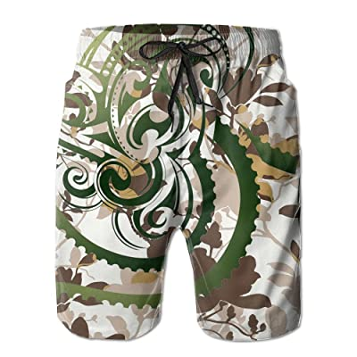 Xush Octopus Claw Art Man's Casual Printing Quick Dry Tropical Athletic Board Swim Trunks Beach Shorts with Pockets for Dad