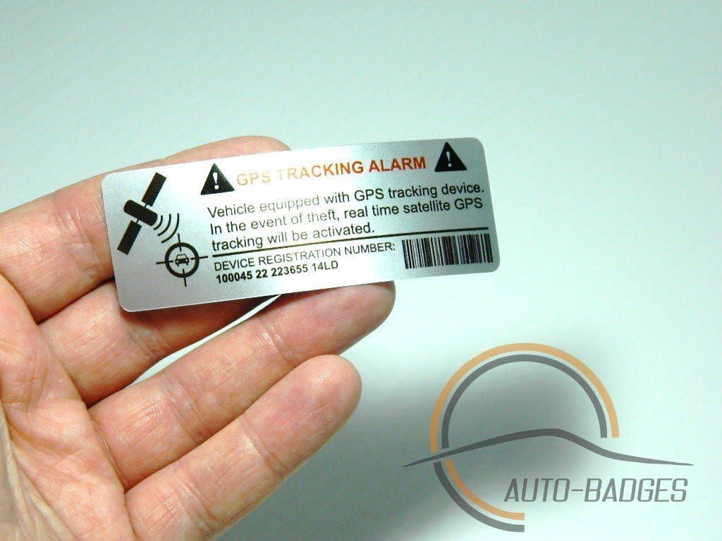 auto-badges Adhesivos de Alarma en el vehículo, 2 Unidades, Gran adherencia, Vinilo, Texto Impreso de rastreo GPS [en inglés]