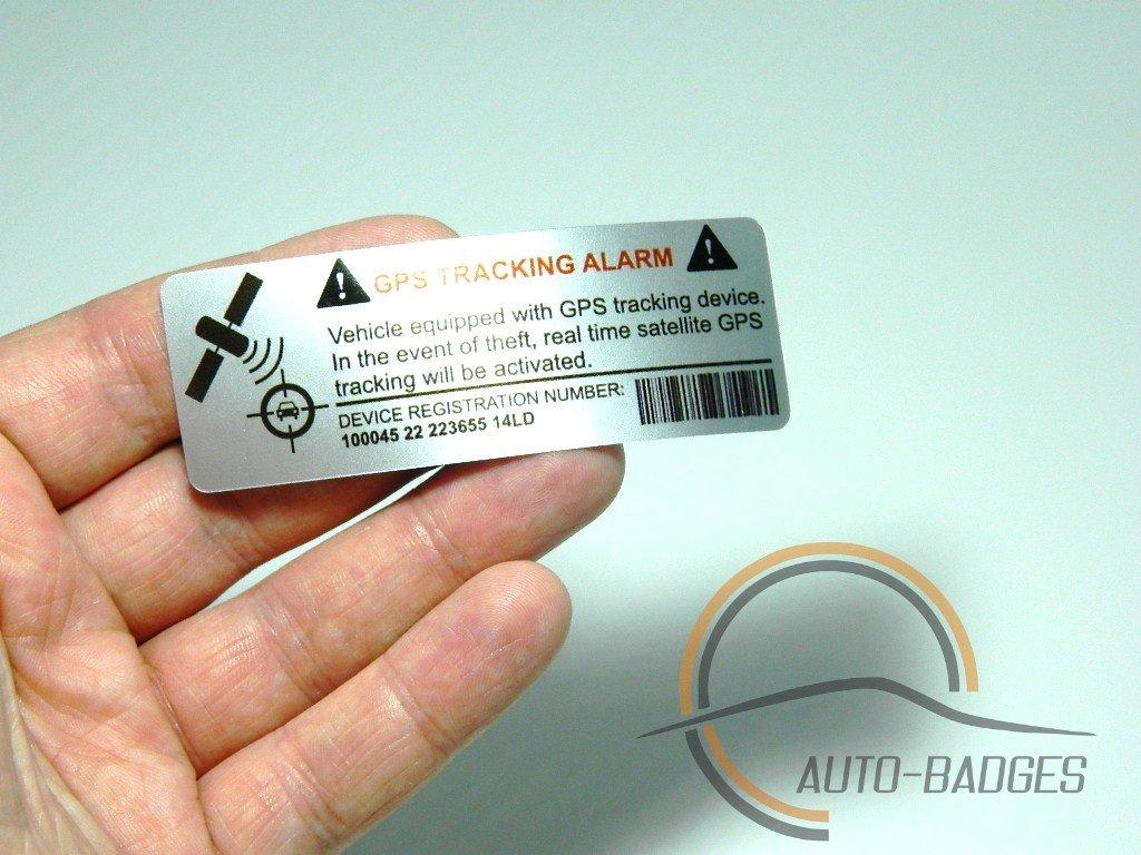 auto-badges Adhesivos de Alarma en el vehí culo, 2 Unidades, Gran adherencia, Vinilo, Texto Impreso de rastreo GPS [en inglé s] Texto Impreso de rastreo GPS [en inglés]