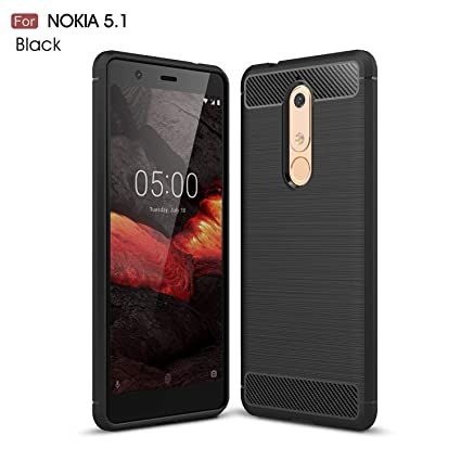 best service 973b2 aab56 REALIKE® Nokia 5.1 (2018) Case, Ultimate Protection from Drops, Durable,  Anti Scratch, Carbon Fiber Back Cover for Nokia 5.1 2018 (Carbon Black)